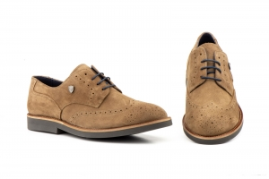 Zapatos Hombre Derby Serraje Taupe   -  Ref. CROWN-02 Taupe