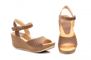 Sandalias Mujer Piel Taupe Cuña Corcho  -  Ref. 9014 Taupe