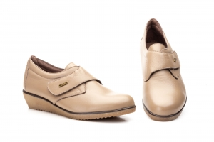 Zapatos Mujer Piel Taupe Velcro  -  Ref. AE-391 Taupe